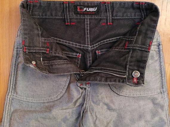 1990s hip hop shirt FUBU jeans carpenter loose fit of 90s hip-hop clothing old school blue OG gangsta rap vintage baggy jeans size W 28