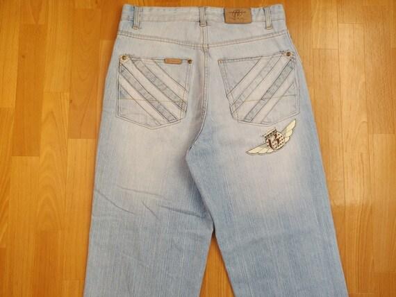 RUFF RYDERS jeans vintage baggy light blue jeans 90s hip-hop clothing,  1990s hip hop, og, gangsta rap, old school streetwear, DMX, size W 32