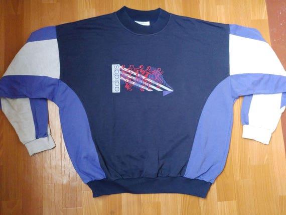 coupon code retail prices sale uk ADIDAS sweatshirt, blue neon vintage hip hop shirt of 90s hip-hop clothing,  old school 1990s gangsta rap, hoodie, size L Large (D7)