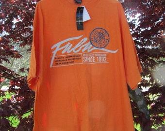 New FUBU jersey vintage t-shirt orange shirt of 90s hip-hop clothing, 1990s hip hop shirt, OG, gangsta rap, size xl, NWT