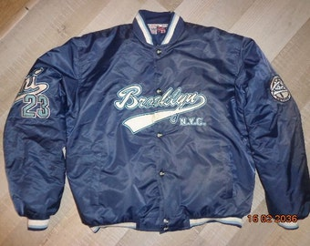 Karl Kani jacket, vintage blue hip hop jacket 2pac Brooklyn 90s hip-hop clothing, 1990s hip hop college jacket, OG, gangsta rap size XL RARE