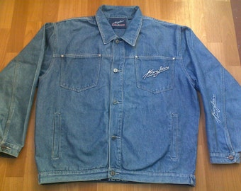 KARL KANI jacket, vintage Kani jacket, Brooklyn denim jacket, old school 90s hip-hop clothing, 1990s hip hop shirt, og, gangsta rap, size XL