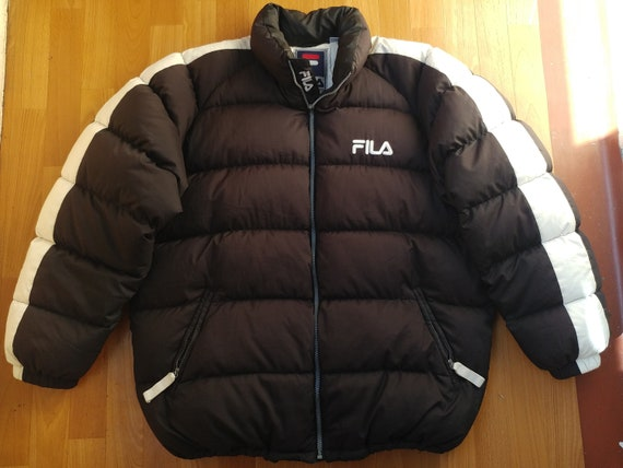 FILA jacket, black down vintage puffer jacket, 90s hip hop clothing, 1990s hip hop, parka, gangsta rap, puff, old school streetwear size XXL