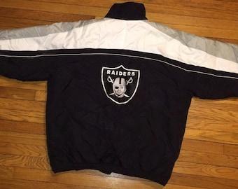 Oakland Raiders jacket, vintage Los Angeles Raiders jacket, officially licensed NFL jacket mens L large black NWA hip hop jacket 90s hip-hop