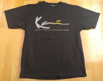 KARL KANI t-shirt, vintage shirt of 90s hip-hop clothing, 1990s hip hop, gangsta rap, black cotton, sewn, old school, size M Medium