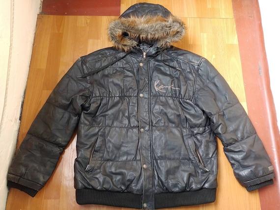 Karl Kani jacket, black vintage genuine leather hi