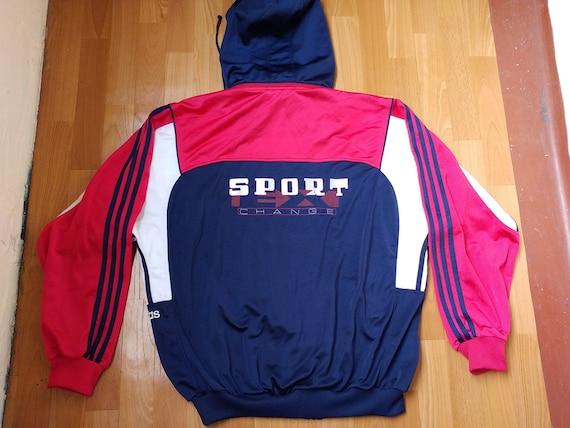 ADIDAS track jacket, blue vintage Sport Exchange zip hip hop jacket of 90s hip hop clothing, 1990s rap, old school windbreaker, size XL D9