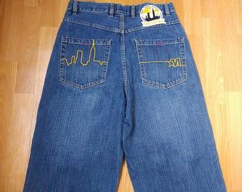 Mecca jeans, blue vintage baggy jeans, 90s hip-hop clothing, 1990s hip hop shirt, OG, old school, gangsta rap, size W 32