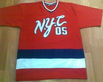 FUBU jersey New York t-shirt, vintage 90s red shirt, 1990s hip-hop OG, gangsta rap,size M