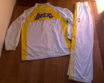 Official NBA Los Angeles Lakers tracksuit, vintage Adidas track suit jacket pants 90s hip hop clothing basketball size L Large CRAZY RARE!!!