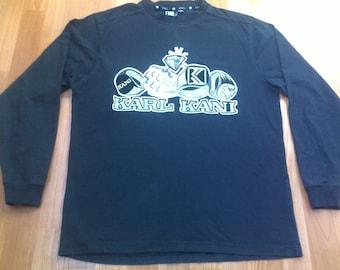 KARL KANI t-shirt black shirt of 90s hip-hop clothing, 1990s hip hop shirt, og, gangsta rap, sewn old-school vintage OG size M Medium