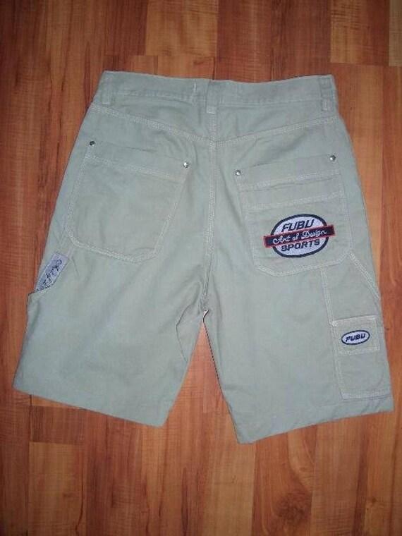 FUBU jeans shorts, vintage denim hip-hop shorts, k