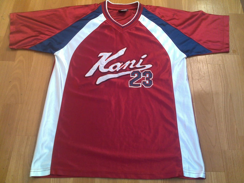 Karl Kani jersey, vintage red t-shirt of 90s hip-hop clothing, size S,  RARE!!!