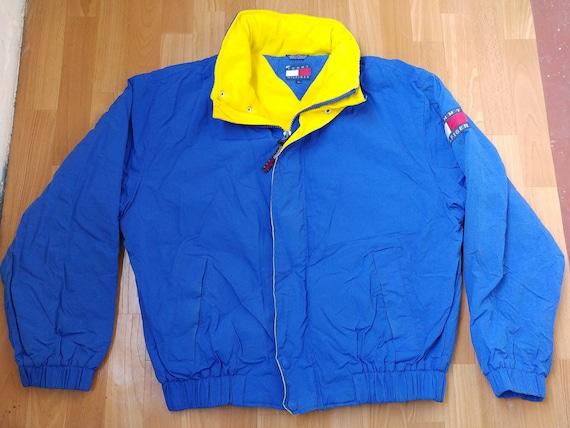 Tommy Hilfiger jacket, vintage blue Tommy jacket of 90s hip-hop clothing,  big logo 1990s hip hop college jacket, OG, gangsta rap, size XL