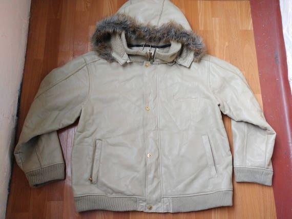 Karl Kani jacket, vintage beige genuine leather hi