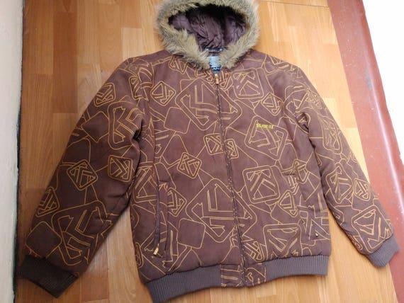 Karl Kani jacket, vintage brown suede hip hop parka jacket, 90s hip-hop  clothing, 1990s hip hop college jacket, OG, gangsta rap size L Large