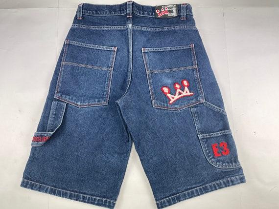 size W 26 old school streetwear gangsta rap 1990s hip hop 90s hip-hop clothing vintage denim hip-hop shorts jnco Overseas jeans shorts