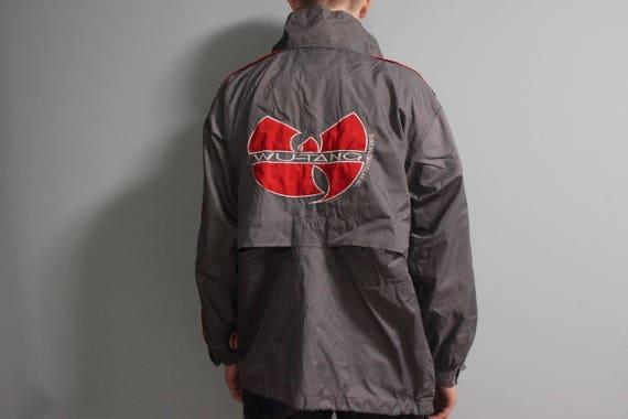 WU porter veste, coupe vent Wu Tang, hip hop vintage gris chemise, 1996 cousu authentique Wu Tang Clan jersey 90 s gangsta rap taille M Medium