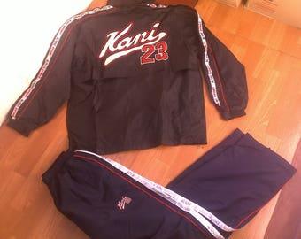KARL KANI tracksuit, baggy Kani track suit jacket pants black blue 90s hip-hop clothing, old school jeans 1990s hip hop, OG, gangsta, size M