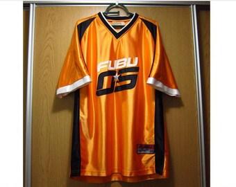 FUBU jersey, orange vintage hip hop t-shirt of 90s hip-hop clothing, 1990s hip hop shirt, OG, Platinum Fubu, gangsta rap, size L Large