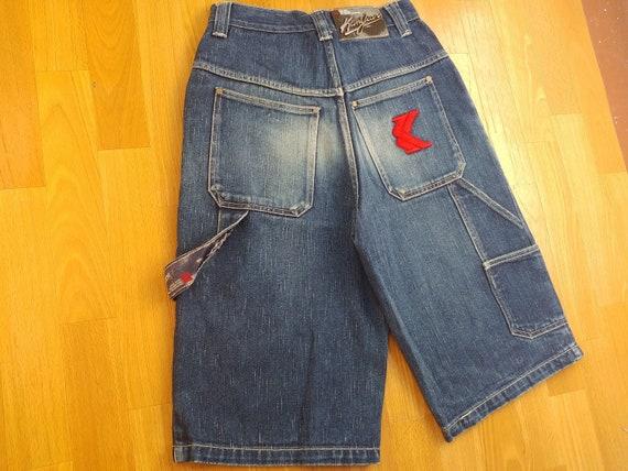 beige vintage hip hop baggy jeans denim shorts 90s hip-hop clothing KARL KANI shorts 1990s streetwear old-school gangsta rap size W 30