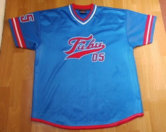 FUBU jersey, blue Fubu shirt, vintage t-shirt of 90s hip-hop clothing, 1990s hip hop, OG, gangsta rap, size L Large