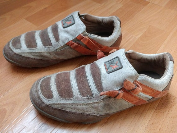 KARL KANI sneakers, vintage hip hop shoes, 90s hip hop clothing, 1990s brown suede basketball old school streetwear men's size 9,5 US 43 eu