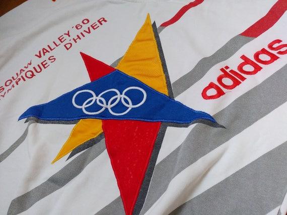 Adidas Vintage Olympic Winter Games St Moritz 1928 crewneck Sweatshirt, Sweater Jacket, 80s old school hip hop clothing, red men's size XL