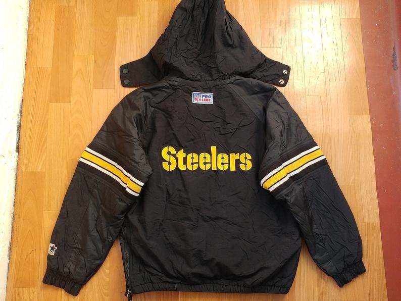 sale retailer 812ec 83a77 STARTER Pittsburgh Steelers jacket, vintage NFL Pro Line coat 90s hip-hop  clothing, 1990s hip hop parka, old school streetwear size M Medium