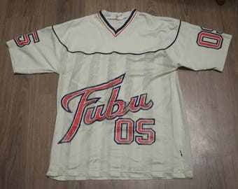 FUBU jersey, beige vintage hip hop t-shirt of 90s hip-hop clothing, 1990s hip hop shirt, OG, old school Fubu, gangsta rap, size L Large