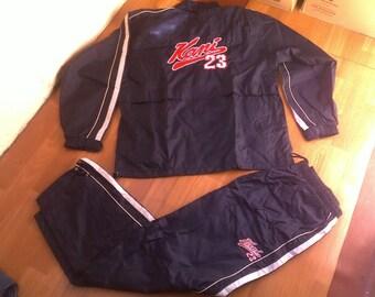 KARL KANI tracksuit, baggy Kani track suit jacket pants black blue 90s hip-hop clothing, old school jeans 1990s hip hop, OG, gangsta, size L