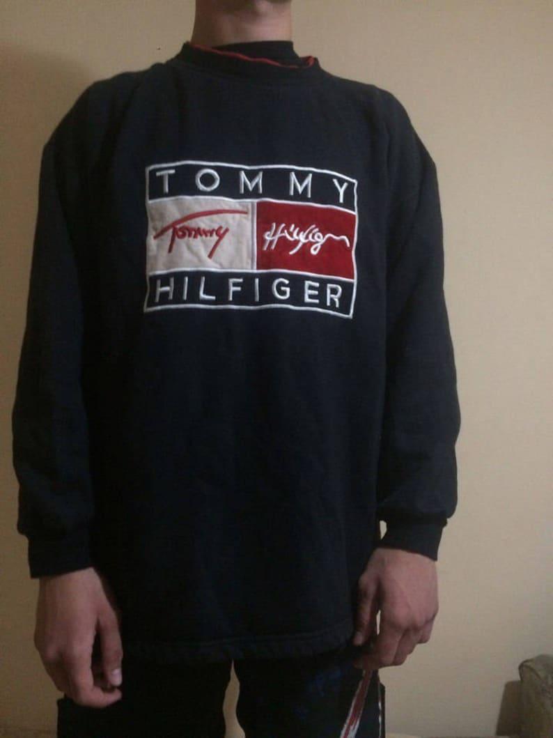 908db8e5 TOMMY HILFIGER sweatshirt vintage black 90s hip-hop clothing | Etsy