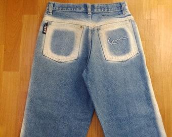 KARL KANI jeans, vintage baggy Kani jeans loose blue 90s hip-hop clothing, old school 1990s hip hop, OG, gangsta rap, size W 28