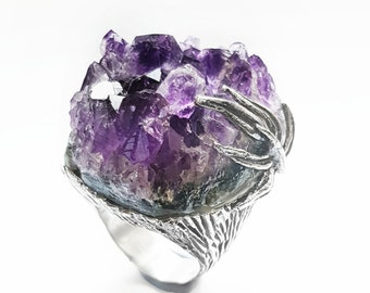 Geoda Amethyst and Silver Ring 925. Raw Amethyst Ring. Ring with blade. One-of-a-kind ring. Unique piece. Raw Crystal Ring