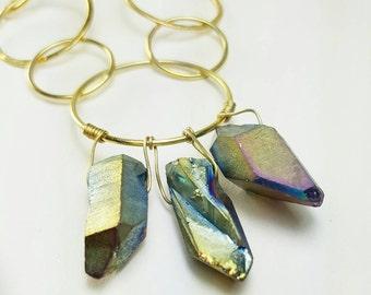 Long necklace. Quartz necklace. Silver necklace. Bathed in gold. Quartz Necklace. 24kts Gold necklace. Original necklace. Striking necklace