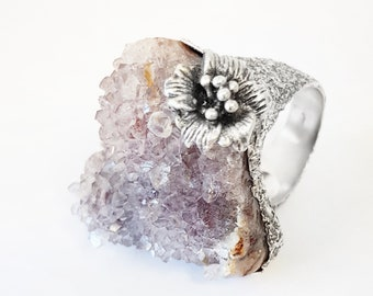 Geoda Amethyst and Silver Ring 925. Raw Amethyst Ring. Floral Ring. One-of-a-kind ring. Unique piece. Raw Crystal Ring
