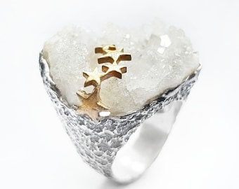 Ring Raw Quartz and Sterling Silver 925. One-of-a-kind ring. Single Piece. Gold-plated star ring. Original Ring