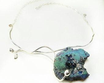 Short Collar. Silver necklace. Quartz necklace. Original necklace. Striking necklace. Quartz necklace.  Natural Stone necklace.
