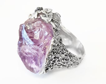 Raw Amethyst Ring and Silver 925. Floral Silver Ring. One-of-a-kind ring. Purple Stone Ring. Amethyst in Brutus. Original Ring