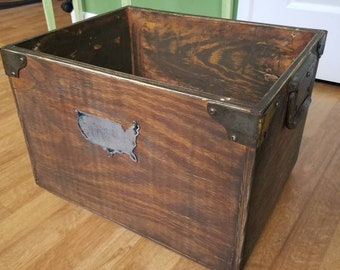 Heavy wooden crate Wooden storage box vintage crate