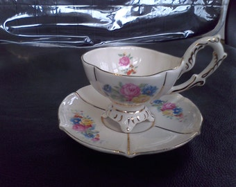 Royal Stafford footed cup and saucer, tea set , vintage cup