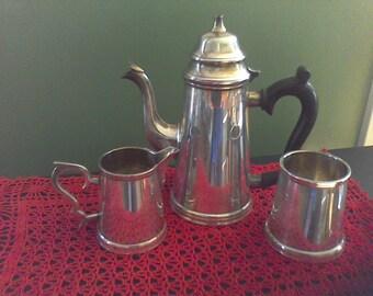 Vintage silver plate tea, EPNS, Silveer over nickle, tea pot , creamer, sugar bowl