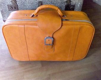 Suitcase ,old luggage,  Samsonite,  Royal Traveller, SideKicks, Orange