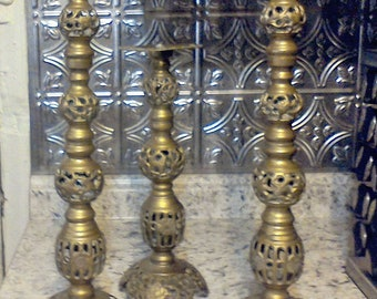 3 candle holders,  Brass candle sticks, centerpeice, wedding candles, home decor, solid brass
