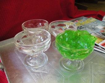 Ice cream parlor glasses, desert glasess,Sundie glasses, Set of 4