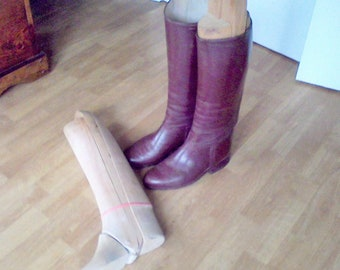 Vintage Horse Riding Boots and wooden boot stretchers long leather riding Equestrian Boots