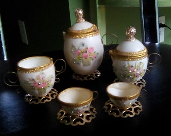 Tea Set Miniatures tea set made from real egg shells  collectibles handmade vintage