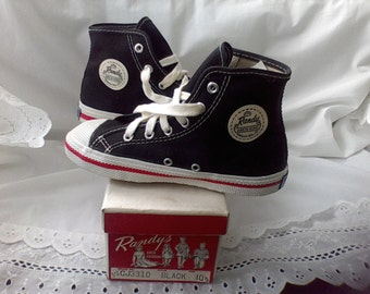 1950's Children's High Top Sneakers, In the box, Size 10.5 Black, vintage shoes Randy'sArch King Randoph MFG co