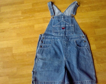 Denim Overalls , shorts, size 9/10 Womens    work cloths  farm cloths Route 66  100 percent cotton Blue