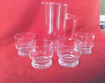 Mid Century Bar Set 32 Oz. Pitcher and 4- 4 oz on the rocks glasses,Prrex pitcher, made in the USA